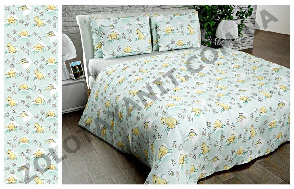 Ткань детская Бязь Gold для постельного белья Uxt-316Green