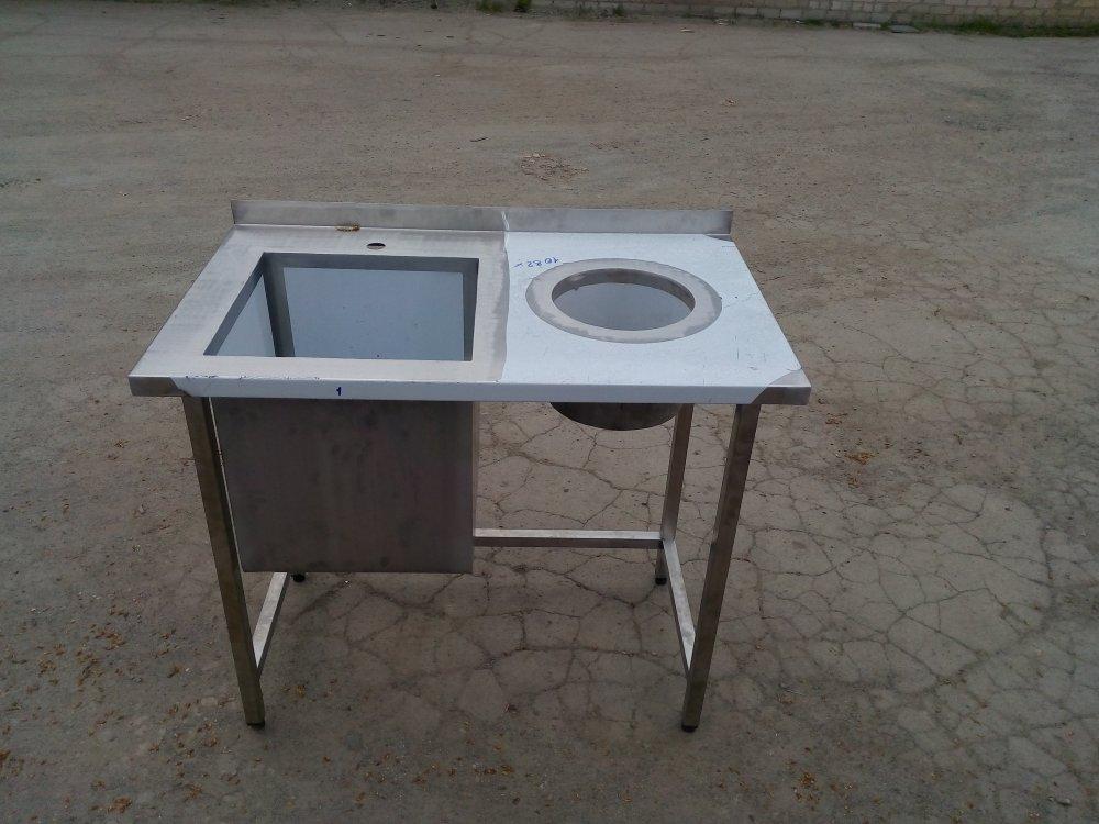 Стол мойка с бортом с отверстием для отходов 1000х600х850 чаша 450х450х400
