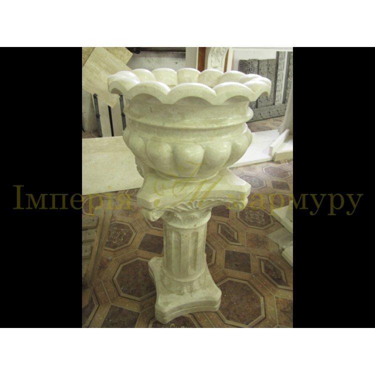 Купить Классическая цветочная ваза из нежно бежевого мрамора Крема нова