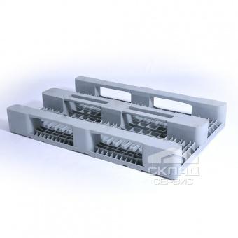 Усиленный пластиковый поддон с закрытыми полозьями PE 1200х800х160 мм серый