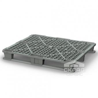 Легкий пластиковый поддон на 2-х полозьях PP 1200х1000х145 мм серый