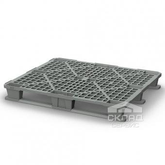 Легкий пластиковый поддон на 3-х полозьях PP 1200х1000х145 мм серый