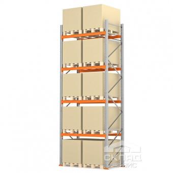 Стеллажи паллетные 5000(h)х1800х1100 мм (пол + 4 яр. х 2490 кг)