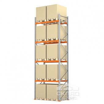 Стеллажи паллетные 5500(h)х1800х1100 мм (пол + 4 яр. х 2490 кг)