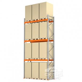 Стеллажи паллетные 6000(h)х2700х1100 мм (пол + 3 яр. х 3030 кг)