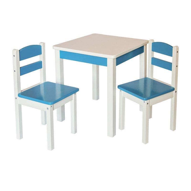 Эко набор Стол деревянный и 2 стульчика Fenster Юниор Синий