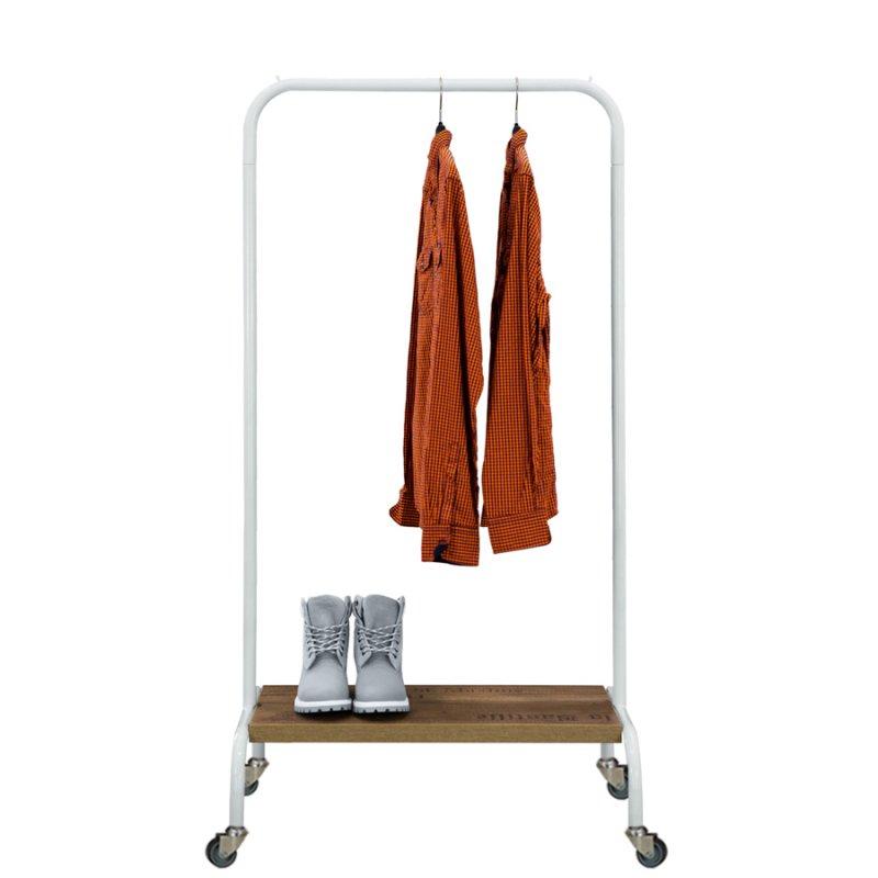 Стойка для одежды Fenster Лофт-пром 2А Белый 140x70x48,5 полка Дуб