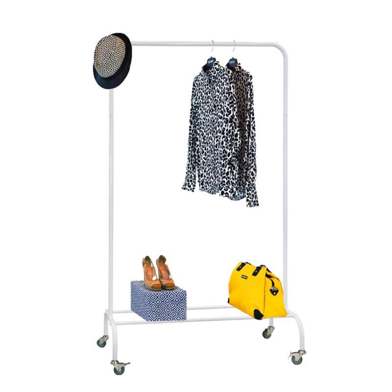 Стойка для одежды на колесах Fenster Лофт-пром 1Б Белый 165x100x48,5