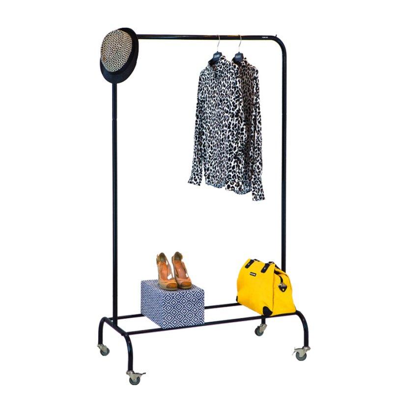 Стойка для одежды на колесах Fenster Лофт-пром 1Б Черный 165x100x48,5