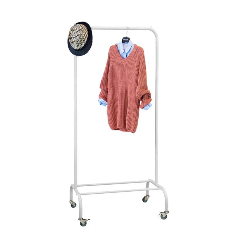 Стойка для одежды на колесах Fenster Лофт-пром 1А Белый 165x70x48,5