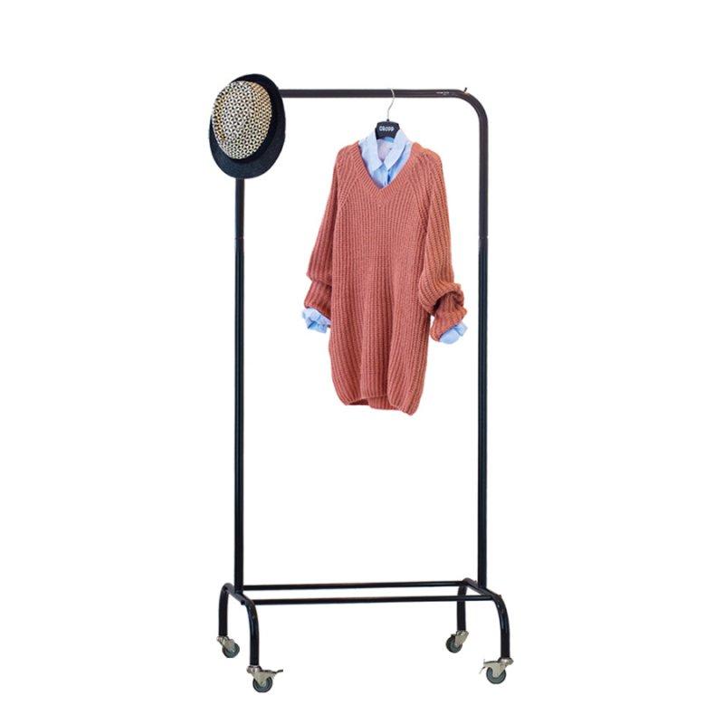 Стойка для одежды на колесах Fenster Лофт-пром 1А Черный 165x70x48,5
