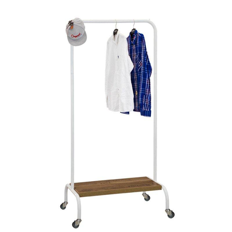 Стойка для одежды на колесах Fenster Лофт-пром 2А Белый 165x70x48,5 полка Дуб
