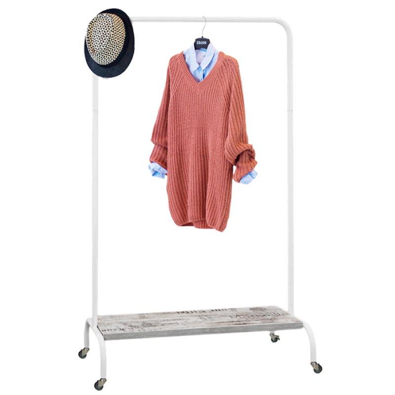 Стойка для одежды на колесах Fenster Лофт-пром 2Б Белый 165x100x48,5 полка Кантри