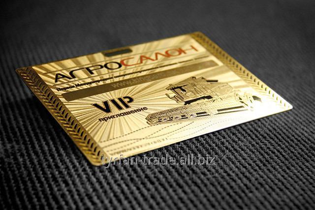 Металлические визитки под золото глянец зеркальное
