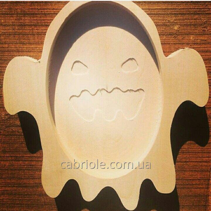 Деревянная тарелка тематическая  к Хэллоуину