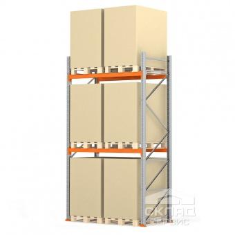 Стеллажи паллетные 3500(h)х1800х1100 мм (пол + 2 яр. х 2090 кг)