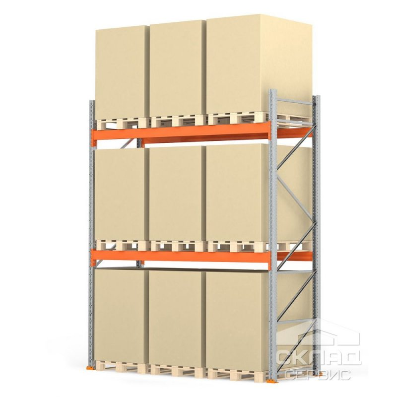 Стеллажи паллетные 3500(h)х2700х1100 мм (пол + 2 яр. х 2410 кг)