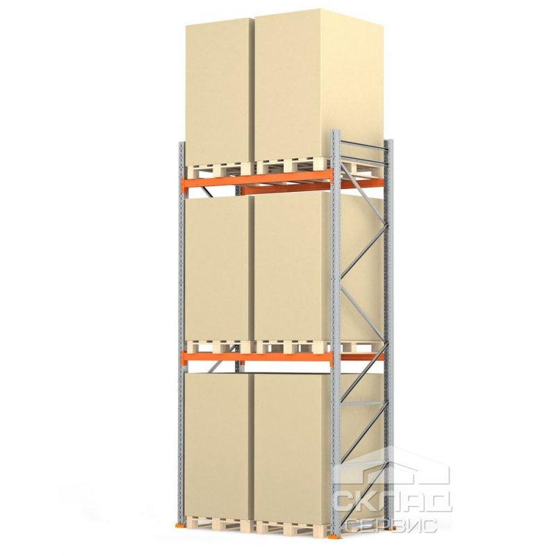 Стеллажи паллетные 4000(h)х1800х1100 мм (пол + 2 яр. х 2090 кг)