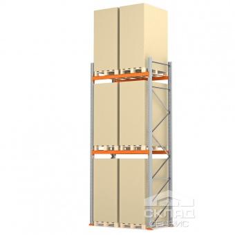 Стеллажи паллетные 4500(h)х1800х1100 мм (пол + 2 яр. х 2490 кг)