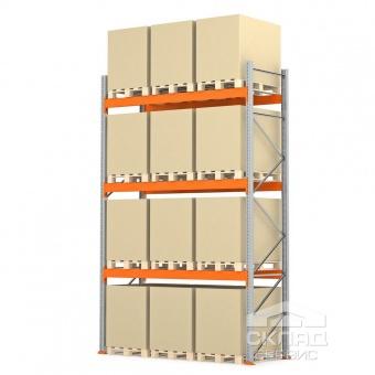 Купить Стеллажи паллетные 4500(h)х2700х1100 мм (пол + 3 яр. х 2410 кг)