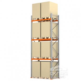 Стеллажи паллетные 5000(h)х1800х1100 мм (пол + 3 яр. х 2490 кг)