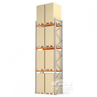 Купить Стеллажи паллетные 6000(h)х1800х1100 мм (пол + 3 яр. х 2490 кг)