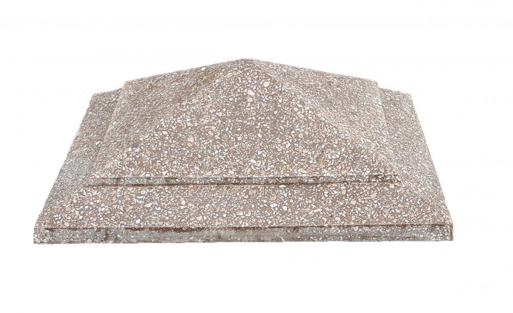 "Колпак на столб ""Ёлка"" 45х45, бетонный с мраморной крошкой"