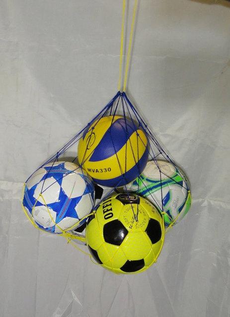 """Купить Сетка для переноски мячей """"ЭКОНОМ"""" на 5 шт., шнур Д - 2,5 мм, бело-синяя"""