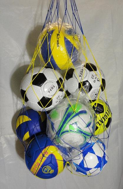 """Купить Сетка для переноски мячей """"СТАНДАРТ"""" на 10 шт., шнур Д - 3,5 мм, желто-синяя"""