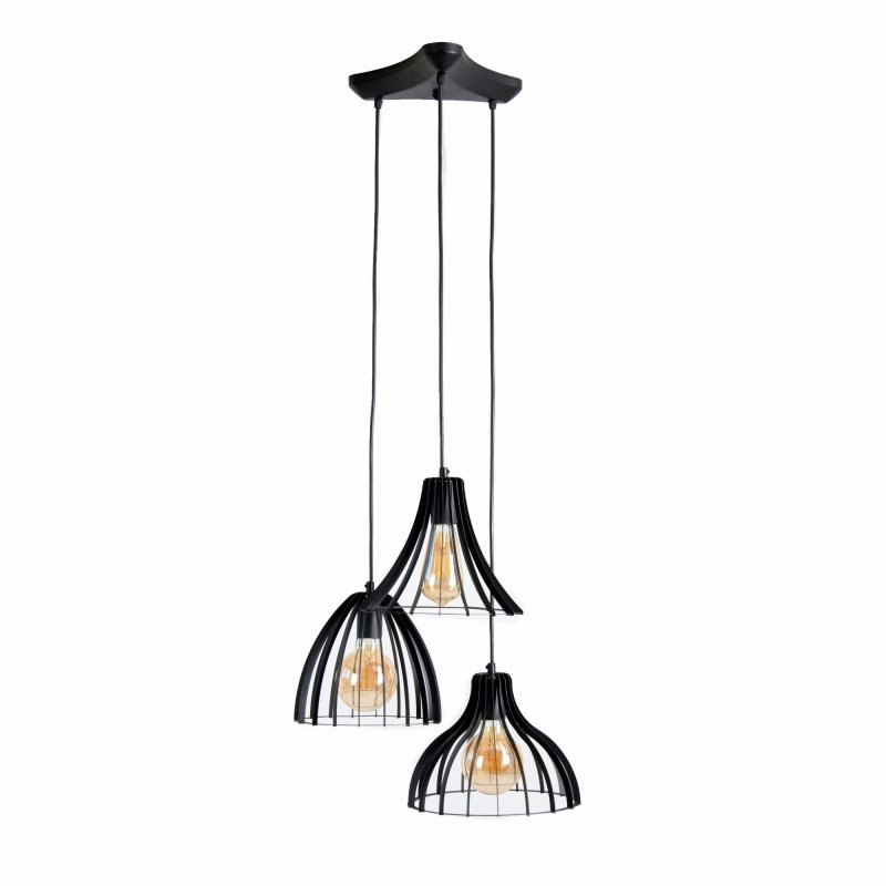 Buy Loft style three-lamp chandelier MIxArt1 BlackPearl