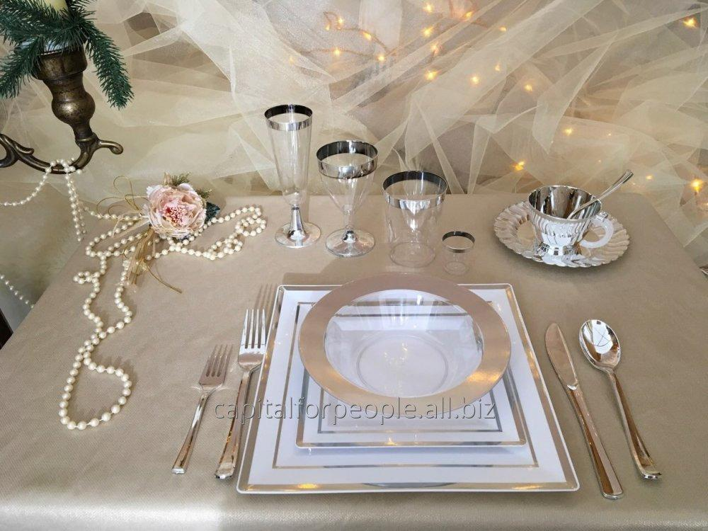 Купить Посуда стекловидная небьющаяся плотная красивая для яхт катеров банкетов мангал меню CFP 116 предметов 6 персон квадрат DD-36