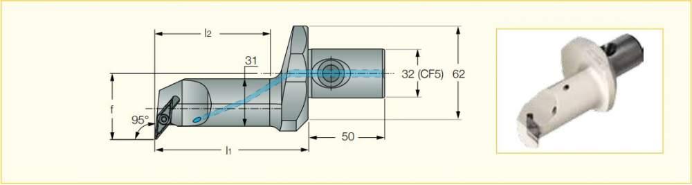 Купить Расточная головка CF5 A-SVLFCR-43100-16 с пластинами VCGT 1604...и соединением CLICKFIT CF5 для обработки алюминиевых дисков колёс