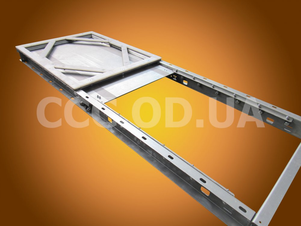 ЗРРК_Э-840х1200, Задвижка запорно-роликовая реечная электрическая подконвейерная, сечение 840х1200