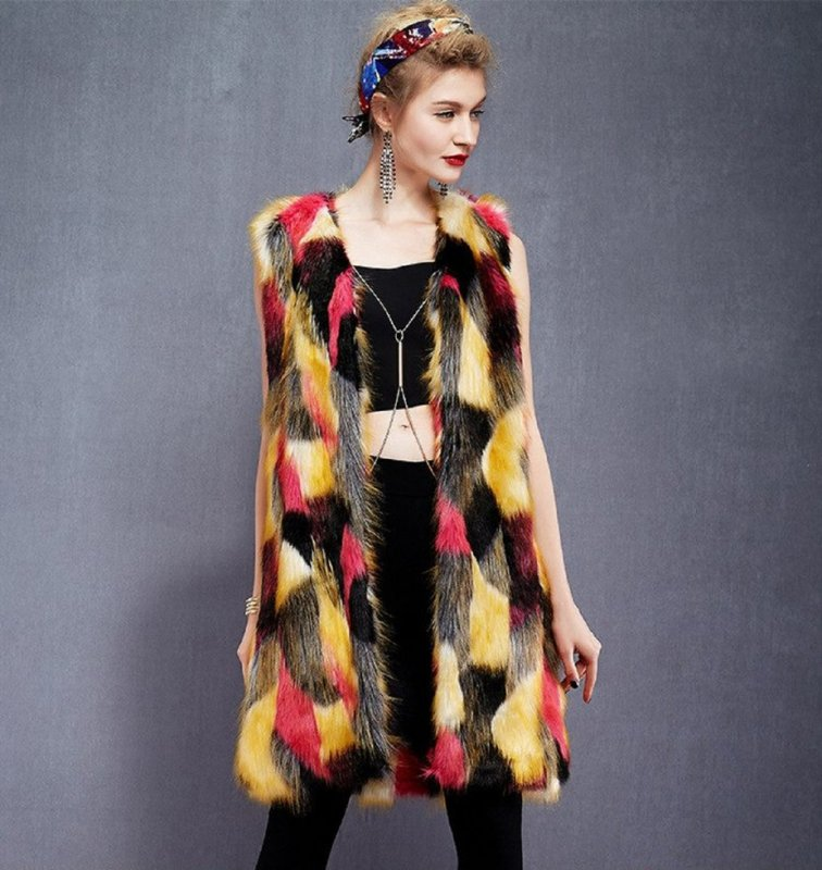 Длинные меховые женские жилеты-(casaco de Пеле)