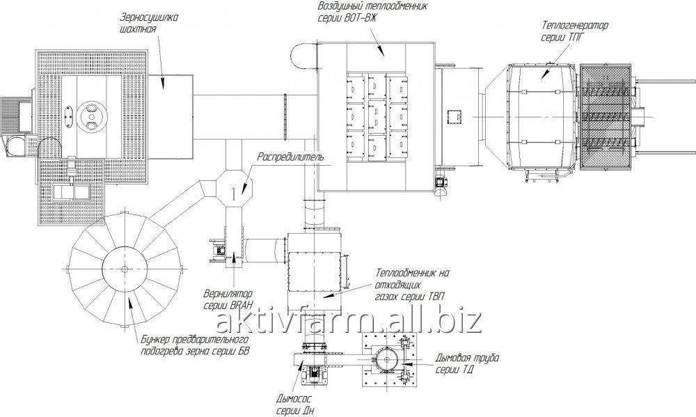 Зерносушилку шахтного типа НВТ-50/2/1//2000-15 з теплогенератором на агроотходах.