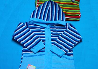 Купить Одежда детская. Кофта детская интерлок полоска комбинированная с капюшоном