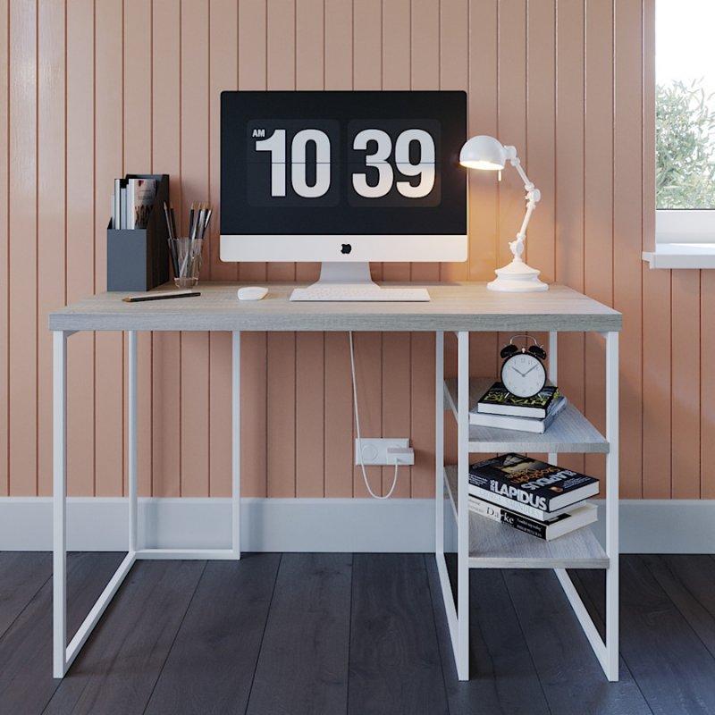 Компьютерный стол Fenster Вега 3 Белый 75,5x120x60 столешница Дуб сонома
