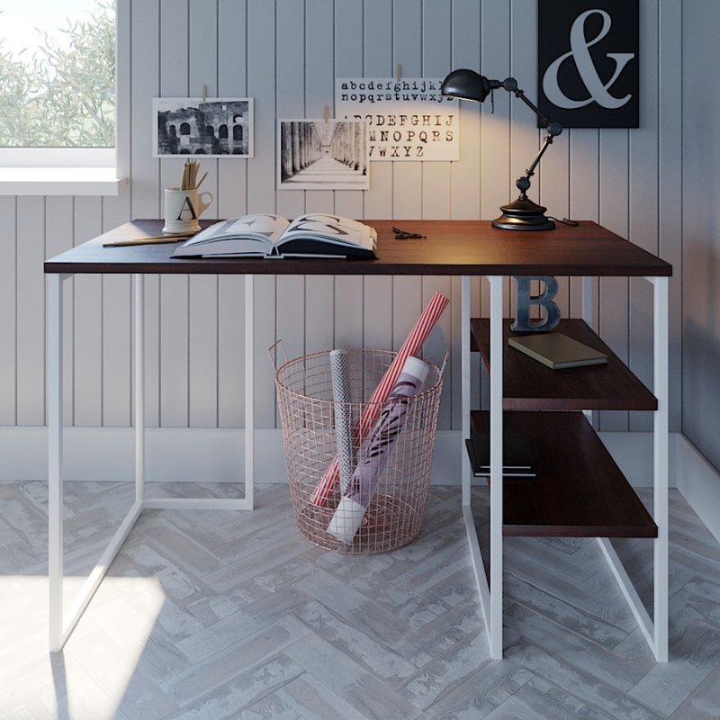 Cтол в офис Fenster Универ 3 Белый 74x120x60 столешница Коричневая