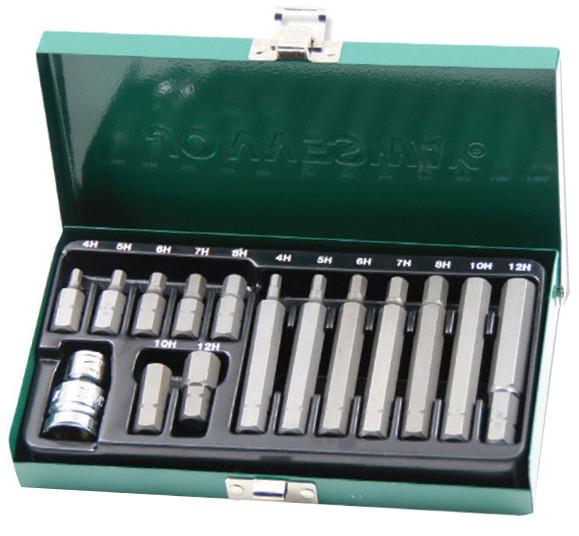 Набор вставок (бит) шестигранных (30 и 75 мм) 4-12 мм, 15 предметов JONNESWAY (S29H4115S)