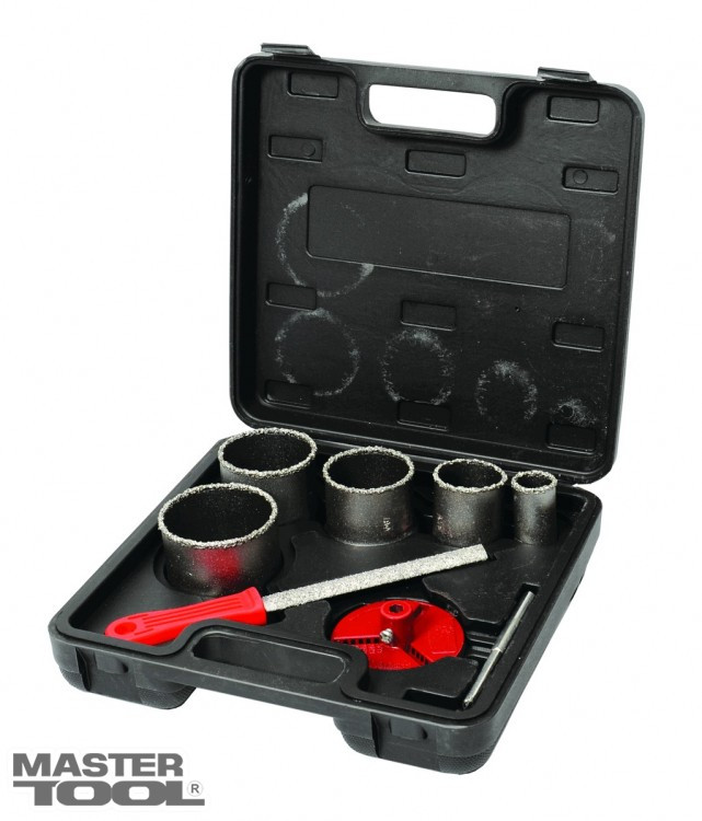 Набор корончатых сверл для плитки 5 шт 33-83 мм, вольфрамовое напыление + напильник, чемодан GRANITE Mastertool (2-08-005)