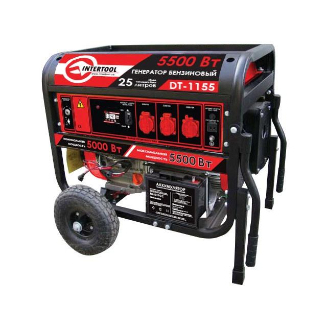Купить Генератор бензиновый макс. мощн. 6 кВт., ном. 5.5 кВт., 13 л.с., 4-х тактный, электрический и ручной пуск, комплект колес и ручек, 96 кг. INTERTOOL DT