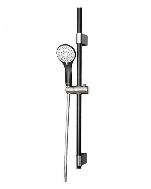 Купить Штанга душевая (чёрная/хром) L-78 см, ручной душ (чёрный) 3 режима, шланг, блистер IMPRESE(7810003B)