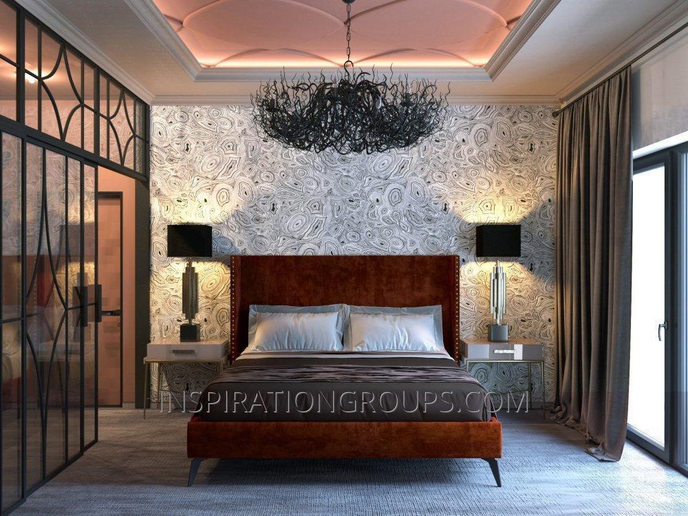 Кровать двухспальная дизайнерская в Итальянской ткани