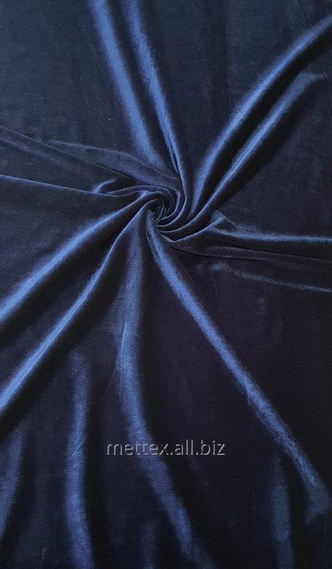 Купить  Гладкий стрейч бархат № 17 цвет - темно-синий