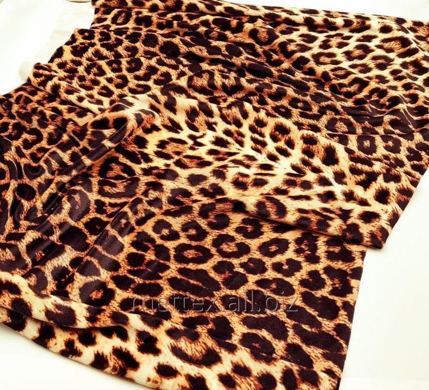 Купить  Гладкий стрейч бархат цвет - леопард