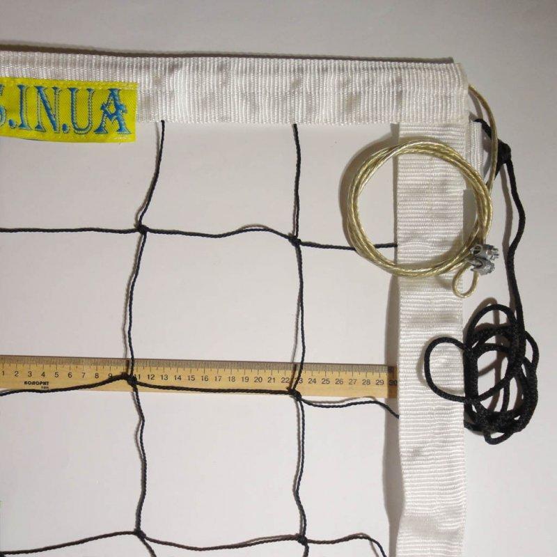 Купить Сетка для волейбола «ПРЕМИУМ 12 НОРМА» с тросом черно-белая