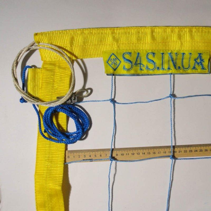 Купить Сетка для волейбола «ПРЕМИУМ 12 НОРМА» с тросом сине-желтая