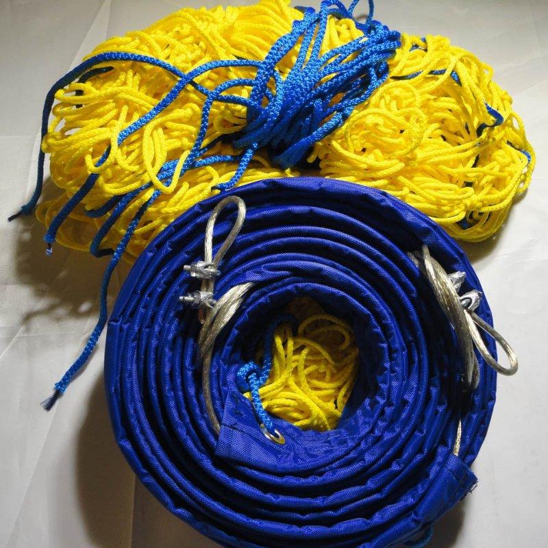 Купить Сетка для классического волейбола «ЭЛИТ 15» с тросом желто-синяя