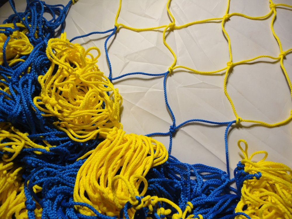 Купить Спортивная сетка: Гаситель для мини-футбола, футзала, гандбола «СТАНДАРТ» желто-синий (комплект из 2 шт.)
