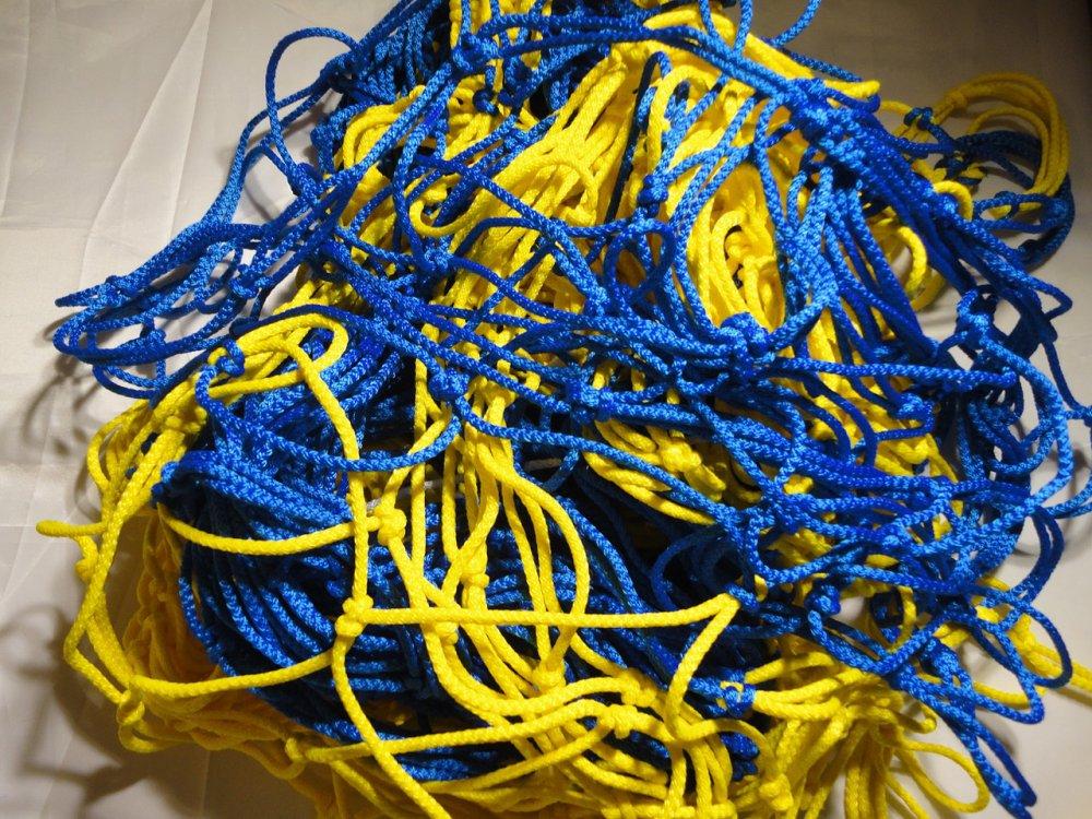Купить Спортивная сетка: Гаситель для мини-футбола, футзала, гандбола «ЭЛИТ» желто-синий (комплект из 2 шт.)